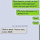 Moth: 1, Dad: 0