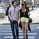Ian Somerhalder and Nina Dobrev sipped on Starbucks during a stroll through NYC.