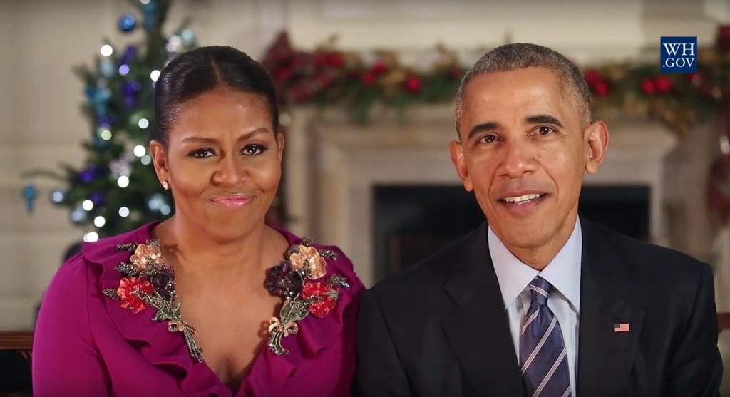 Michelle Obama Gucci Dress Holiday Address 2016