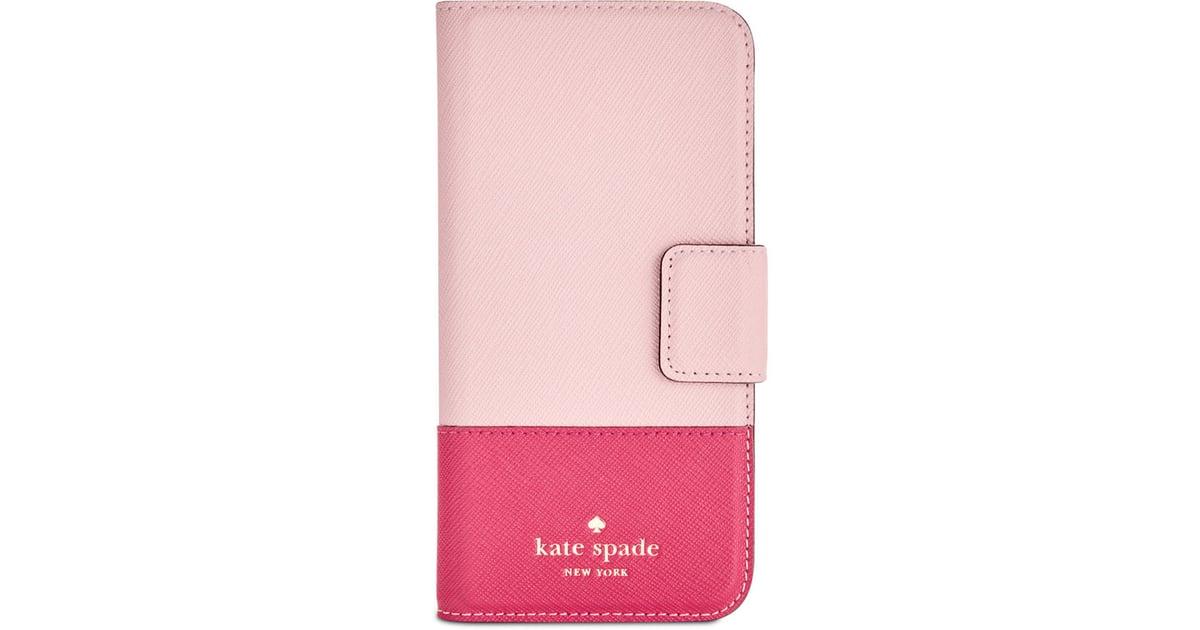promo code 75744 075a5 Kate Spade Leather Wrap iPhone 7 Folio Case ($70) | Millennial Pink ...