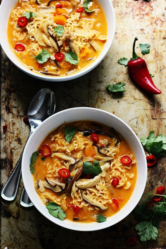 Spicy Butternut Squash Ramen With Chicken and Mushrooms