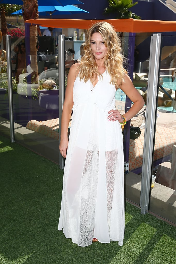 Ashley Greene wearing a breezy white gown at the Hard Rock Hotel.