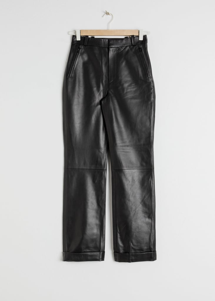 & Other Stories Cuffed Leather Pants in Black