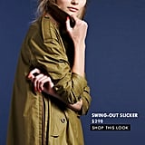 Invest: The Swing-Out Slicker ($298)  Why: The A-line silhouette, the color, and the fit are all timeless. It's the perfect rain-or-shine trench that will easily become a well-worn closet staple. Casual enough to throw on with jeans, and works as a perfect contrast against day dresses and skirts.