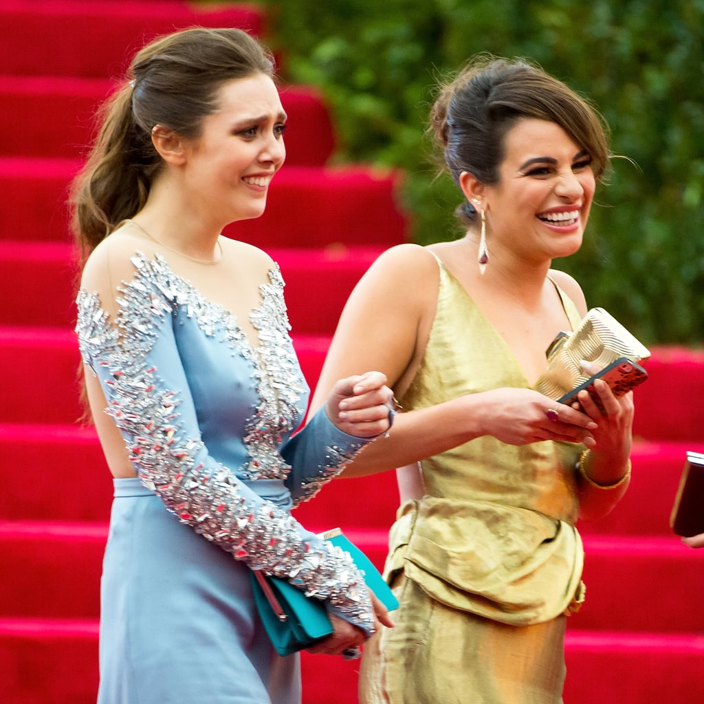 Something had Elizabeth Olsen and Lea Michele in stitches in 2014.