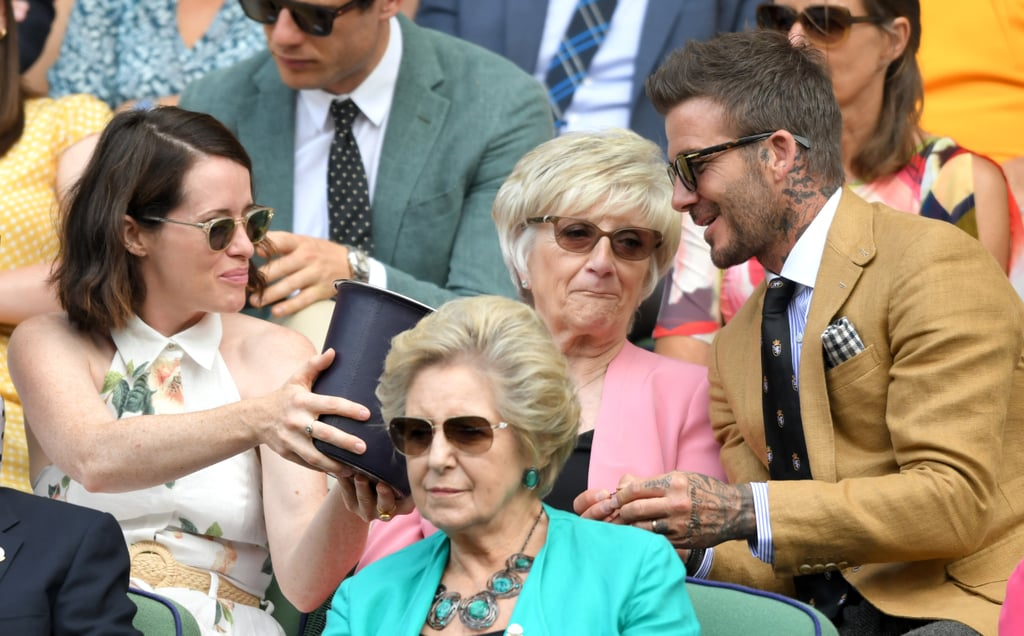 We don't know if David Beckham and Claire Foy were friends before they attended Wimbledon on Thursday, but they definitely looked like they were getting on as they took their seats in the royal box for day ten of the tournament. Both stars were accompanied by their mums; David brought his mum Sandra, who's no stranger to Wimbledon, having attended with her son on many previous occasions. They were spotted chatting to Richard Branson and his daughter Holly, another famous pair making this a family affair. Meanwhile, Claire brought her mum Caroline, and the two were spotted really getting into the action on the court. It looks like The Crown star is definitely a chip off the old block! Not only were they captured making identical reactions to some of the most exciting moments on court, but they also dressed in coordinating calf-length shirt dresses (Claire's a sleeveless floral number, Caroline's a long-sleeved polka dot style). Keep reading to see the sweet family day out ahead.      Related:                                                                                                           Meghan Markle Takes a Break From Mum Duty to Cheer on Serena Williams at Wimbledon