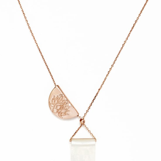 By Charlotte Rose Gold Plated Lotus and Mother of Pearl Necklace, $120