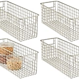 mDesign Farmhouse Decor Metal Wire Food Storage Organizer Bin Baskets