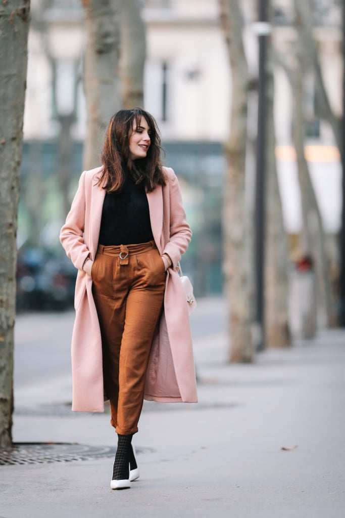 A Long Pink Coat, Black Turtleneck, Cigarette Trousers, and Heels