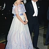 Charles and Diana walked the red carpet at a Royal Variety performance in 1984.
