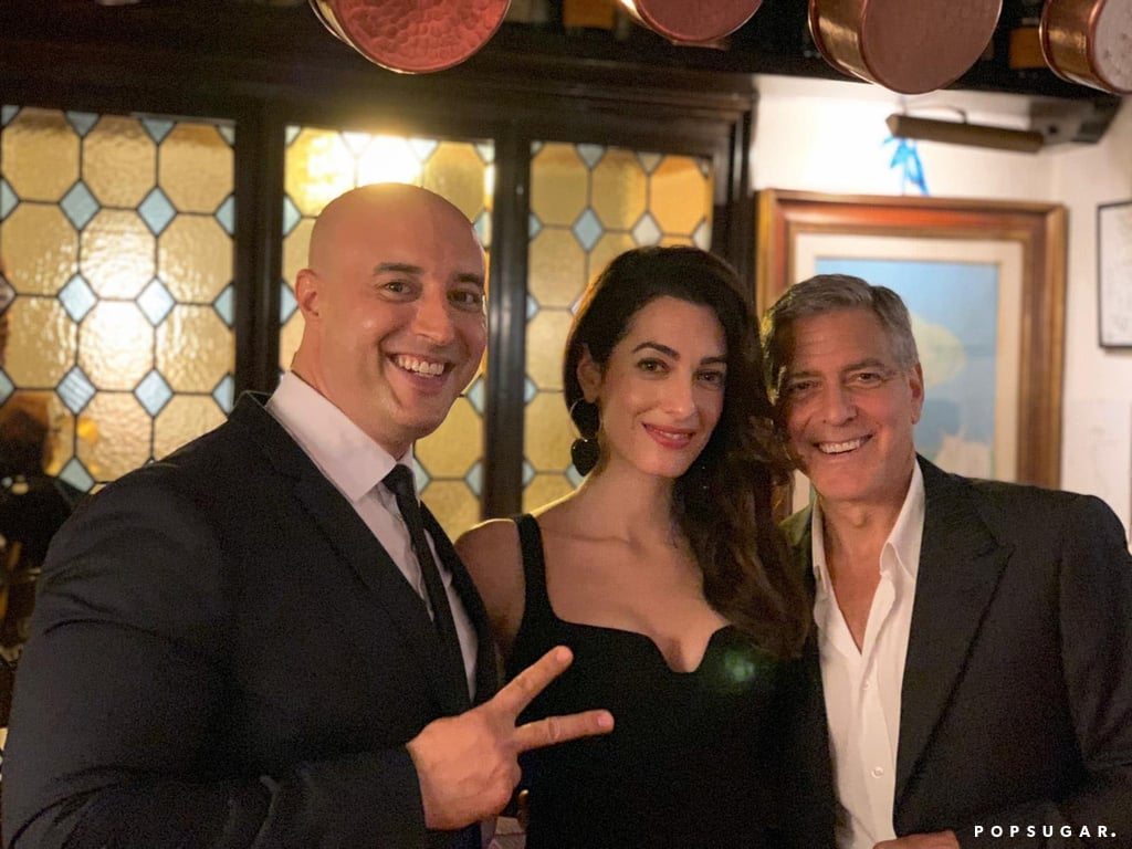 George and Amal at Da Ivo Venice last night Amal-Clooney-Wears-Black-Dress-Italy-June-2019