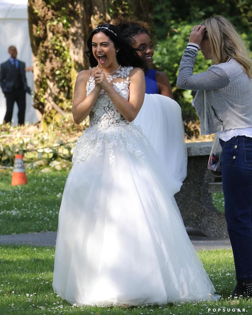 Do Veronica and Archie have wedding bells in their near future? Well, it certainly looks like it in these new set photos. The Riverdale cast was recently spotted filming a wedding scene for the upcoming second season in Vancouver, Canada, on Monday. Not only was Veronica (Camila Mendes) spotted wearing a gorgeous white gown, but Archie (KJ Apa) donned a kilt and bow tie alongside his best man, Jughead (Cole Sprouse). Before you go freaking out like we did, we should point out that Jason (Trevor Stines) was also on-hand for the ceremony. And seeing that he was murdered last season, we can only assume that this is a dream sequence. But just who exactly is dreaming about marrying whom? Guess we'll just have to wait until next season to find out.       Related:                                                                                                           We Have a Crazy Theory About Betty's Older Brother, So Just Hear Us Out
