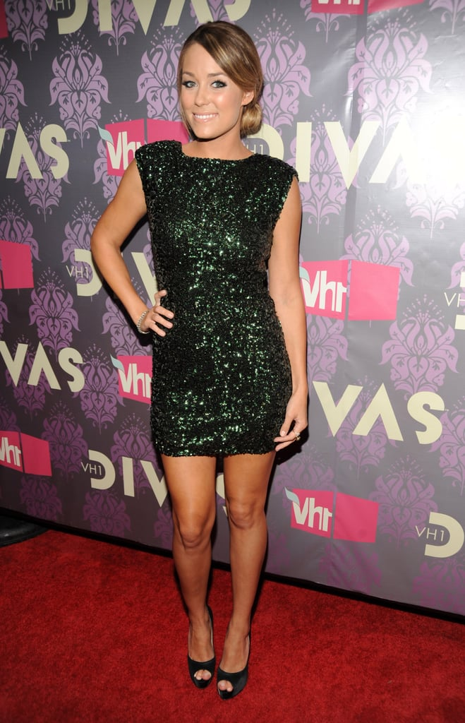 LC sparkled in this green sequined Alice + Olivia mini-dress in 2009. Lesson from Lauren: for an updated party look, swap your basic black sequins for a gem hue.