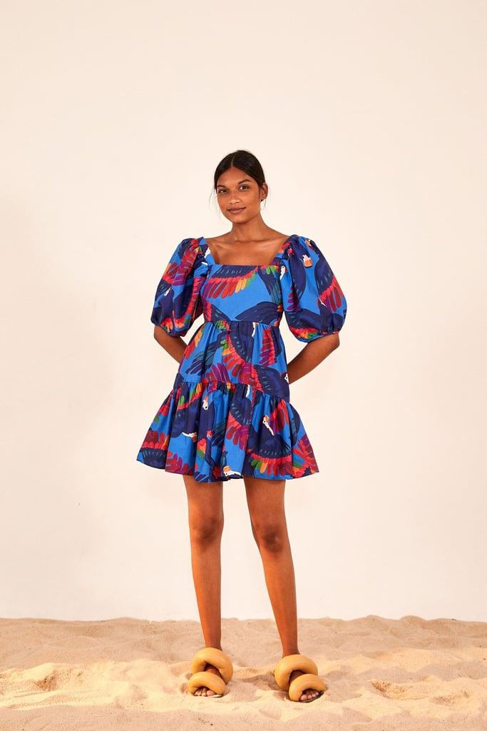 Rainbow Macaw Midi Dress