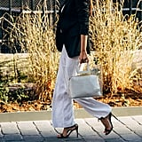 With a Simple Blazer, Heeled Sandals, and a Statement Tote Bag