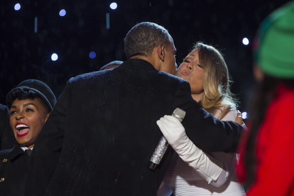 Barack greeted Mariah Carey on stage after she performed at the Christmas tree lighting ceremony at the White House in December 2013.