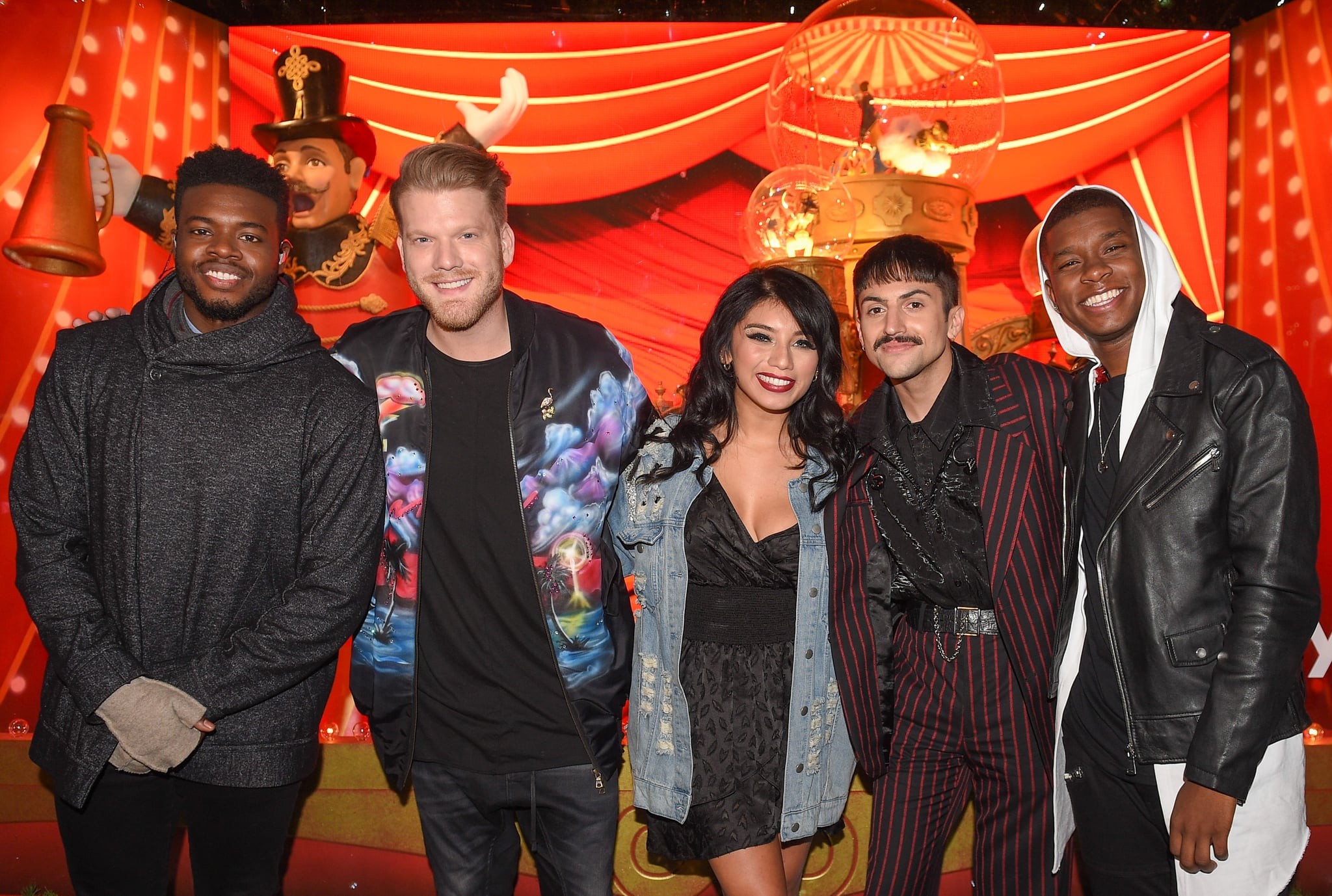 TORONTO, ON - NOVEMBER 02: L-R Kevin Olusola, Scott Hoying, Kirstin Maldonado, Mitch Grassi and Matt Sallee attend the Hudson's Bay And Saks Fifth Avenue Kick Off The Holidays With Pentatonix at Hudson's Bay on November 2, 2017 in Toronto, Canada.  (Photo by GP Images/WireImage)