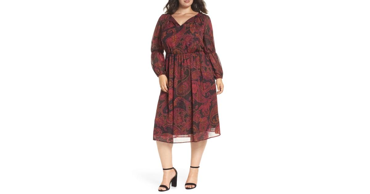 Maggy London Double Puff Sleeve Midi Dress Best Plus Size Dresses