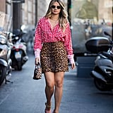 Wear a Checkered Shirt With a Leopard-Print Skirt