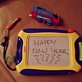 Alicia Keys and Egypt shared a New Year's message on one of his toys! Source: Instagram user aliciakeys