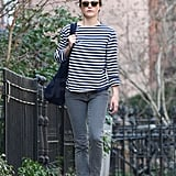 Keri Russell walking to her Brooklyn home.