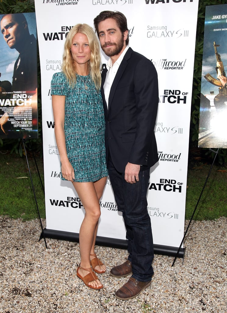 Gwyneth Paltrow and Jake Gyllenhaal met up for a screening of his new movie, End of Watch, in the Hamptons last night. The actors cohosted the event with Jessica Seinfeld, who was also there with her husband, Jerry. Gwyneth and Jake have been friends for years, ever since starring together in Proof. Gwyneth has also played matchmaker for single Jake, setting him up with Taylor Swift back in 2010. Gwyneth's own spouse, Chris Martin, turned out to see the film too.  Jake is rocking quite the beard these days, though he might have to lose it for his next big role. Jake is teaming up with the duo behind Half Nelson, which earned Ryan Gosling an Academy Award nomination, so if they can capture magic again perhaps Jake will be next in line for an Oscar nod.