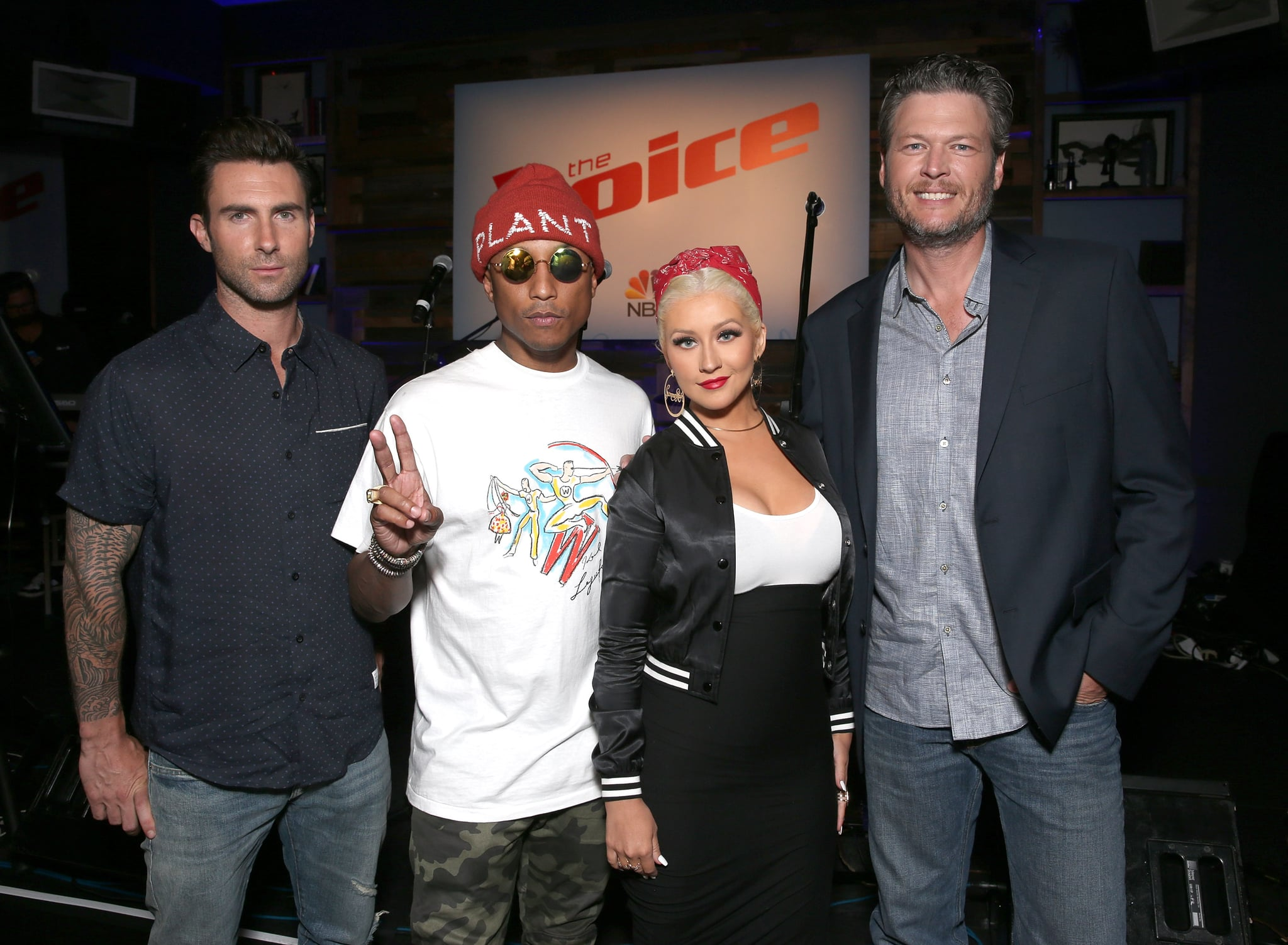 WEST HOLLYWOOD, CA - APRIL 21:  Adam Levine, Pharrell Williams, Christina Aguilera and Blake Shelton attend