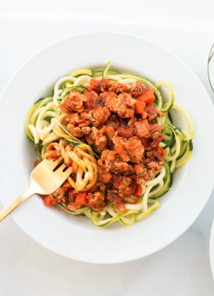 Turkey Bolognese with Courgette Noodles | Best Healthy ...