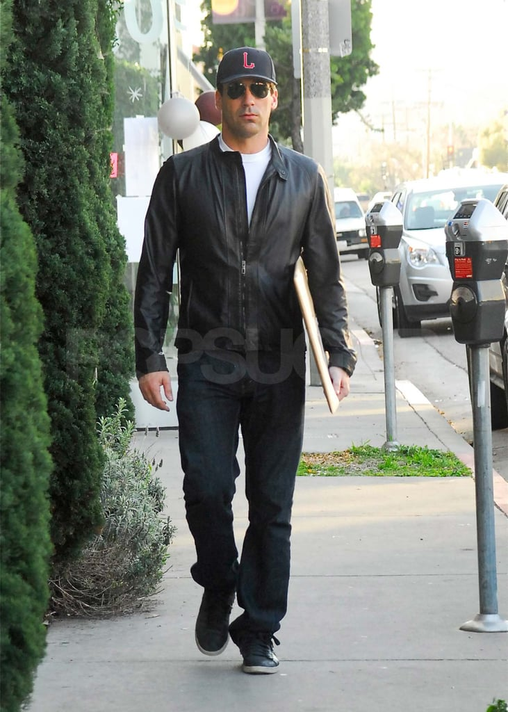 Jon Hamm ran errands along West Hollywood's Melrose Avenue yesterday. He opted for a casual leather jacket and sneakers, but on Sunday he was decked out in a suit to party at InStyle's Golden Globe afterparty with his fellow Mad Men costar Elizabeth Moss and 30 Rock's Jack McBrayer. Jon and Elizabeth's TV drama returns on March 25 with a two-hour season premiere. Until then, Jon's got his hands full with two other projects. He's starring alongside his real-life girlfriend Jennifer Westfeldt in their romantic comedy Friends With Kids, due out March 9 — check out the hilarious Friends With Kids trailer! Jon and Jennifer are also lending their voices to the Feb. 20 episode of PBS animated series Martha Speaks.
