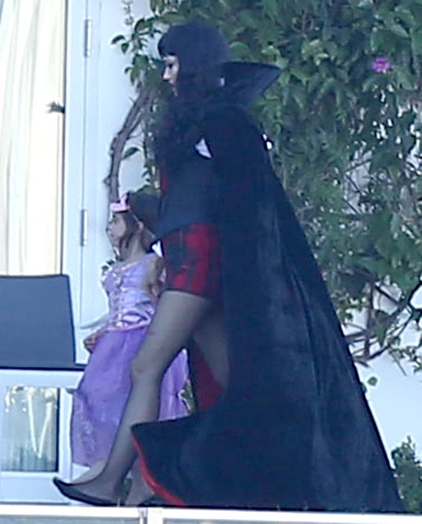 Gwen Stefani wore a cape at her party in LA on Saturday.