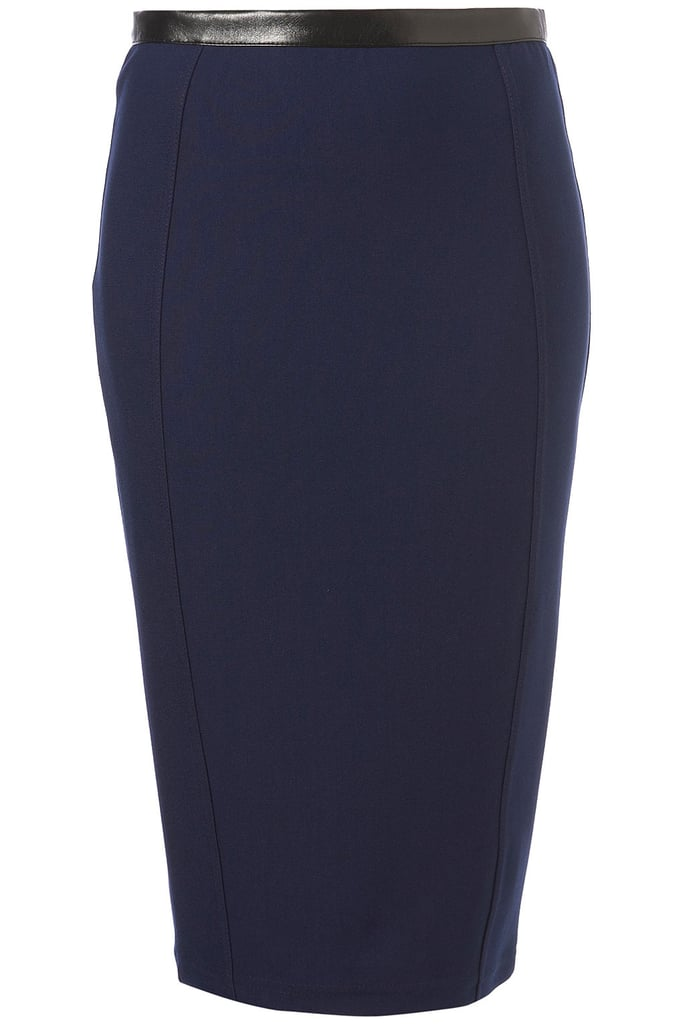 Just a hint of leather instantly sexies up a classic pencil skirt.   Topshop Milano Pencil Skirt ($60)
