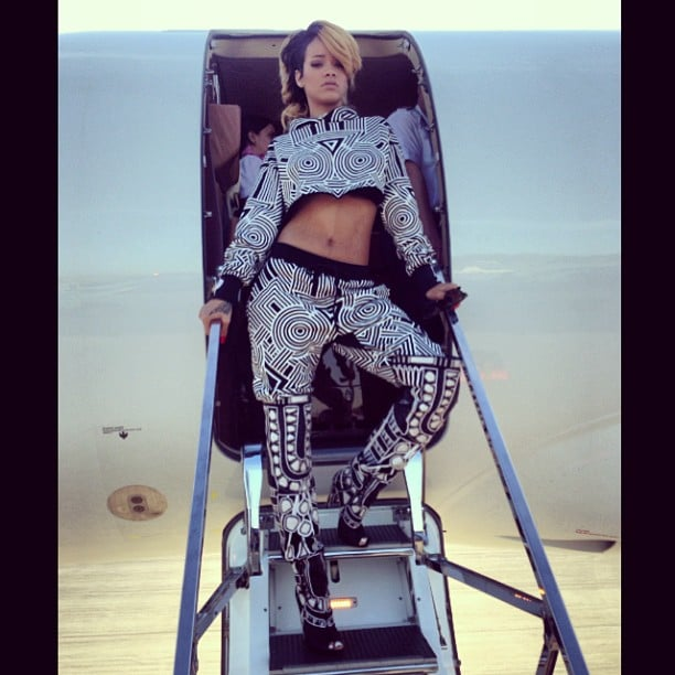 Rihanna struck her signature bad-ass pose while getting off her private jet upon landing in Poland. Source: Instagram user badgalriri