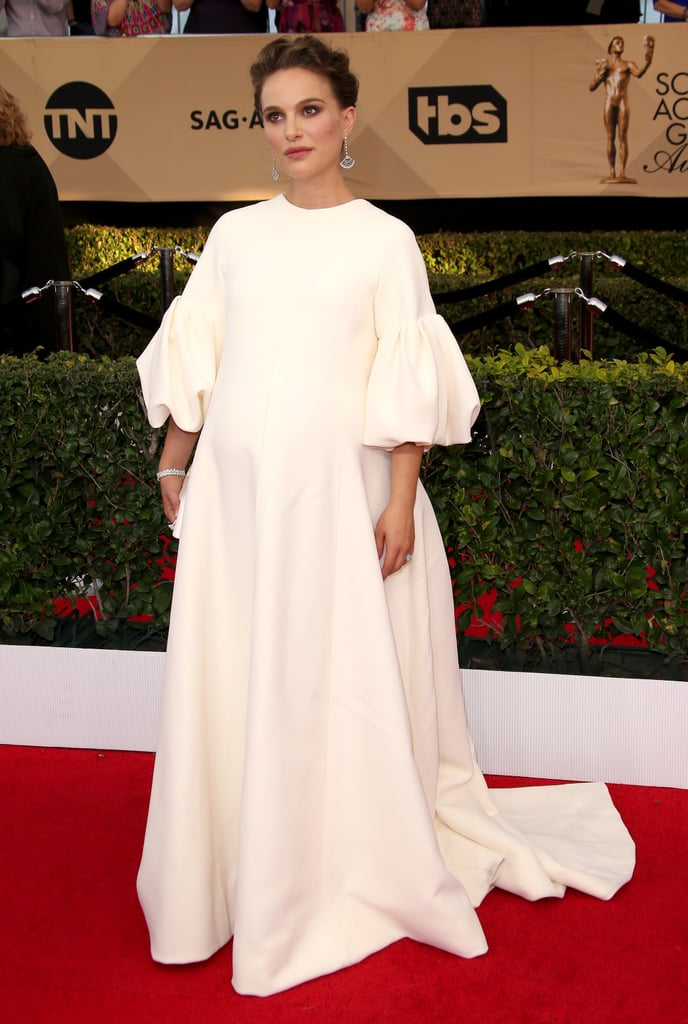 The actress wore a poufy sleeve Dior gown to the 2017 SAG Awards.