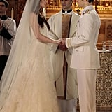 Leighton Meester as Blair Waldorf and Hugo Becker as Louis on Gossip Girl.  Photo courtesy of The CW