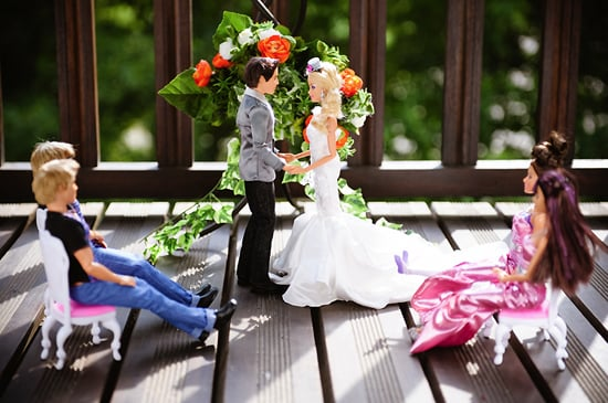 "Barbie and Ken say their ""I dos."" Photo by BdG Photography via Rock n Roll Bride"