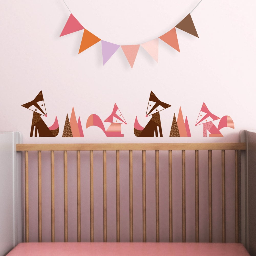 A family of modern foxes ($39) can be customized in the color of your choice.