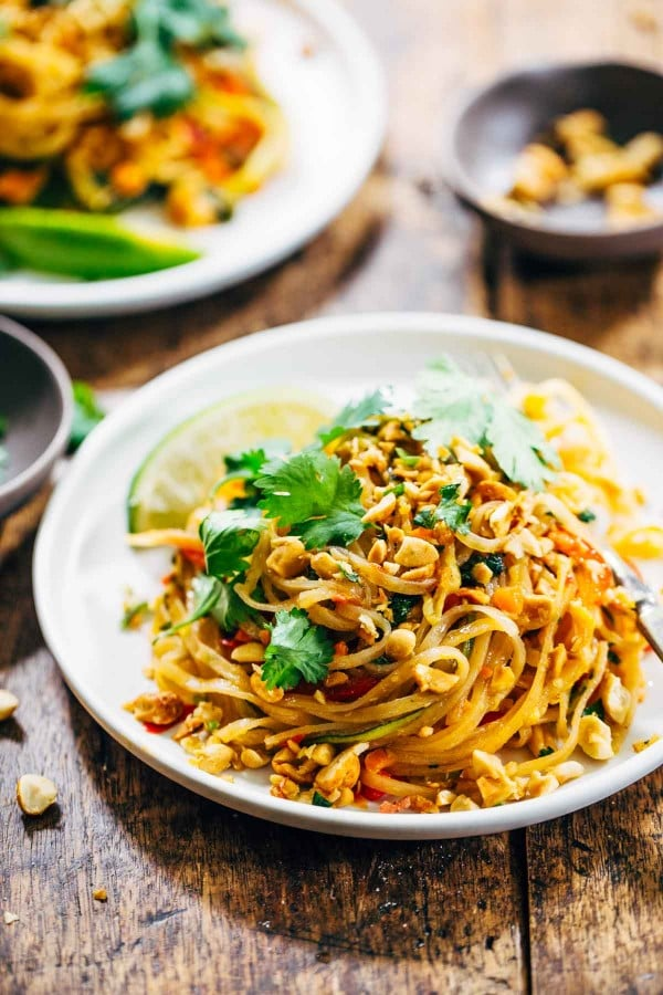 thai pad vegetarian recipes noodles basil rainbow sauce recipe peanuts vegan easy dinner veggie noodle pinch fish vegetable yum food