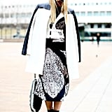 Minimalist outerwear met the coolest kind of printed dress for an edgier effect.
