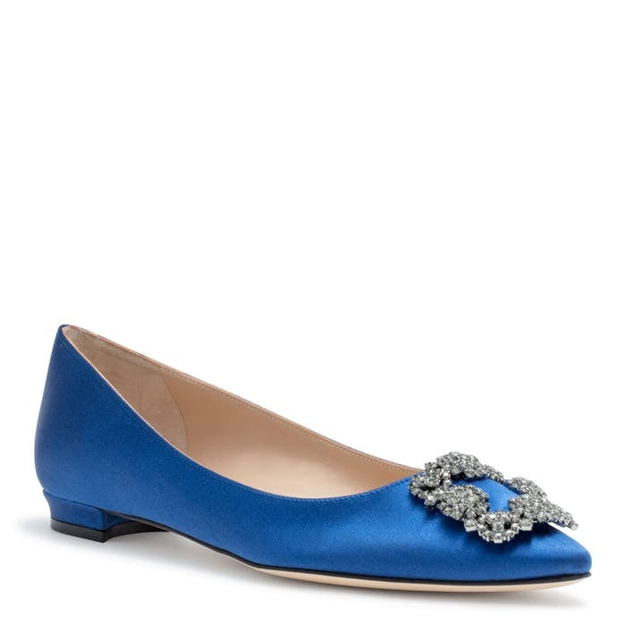 788f1f67133 Manolo Blahnik Hangisi Flat in Royal Blue Satin Ballerina ...