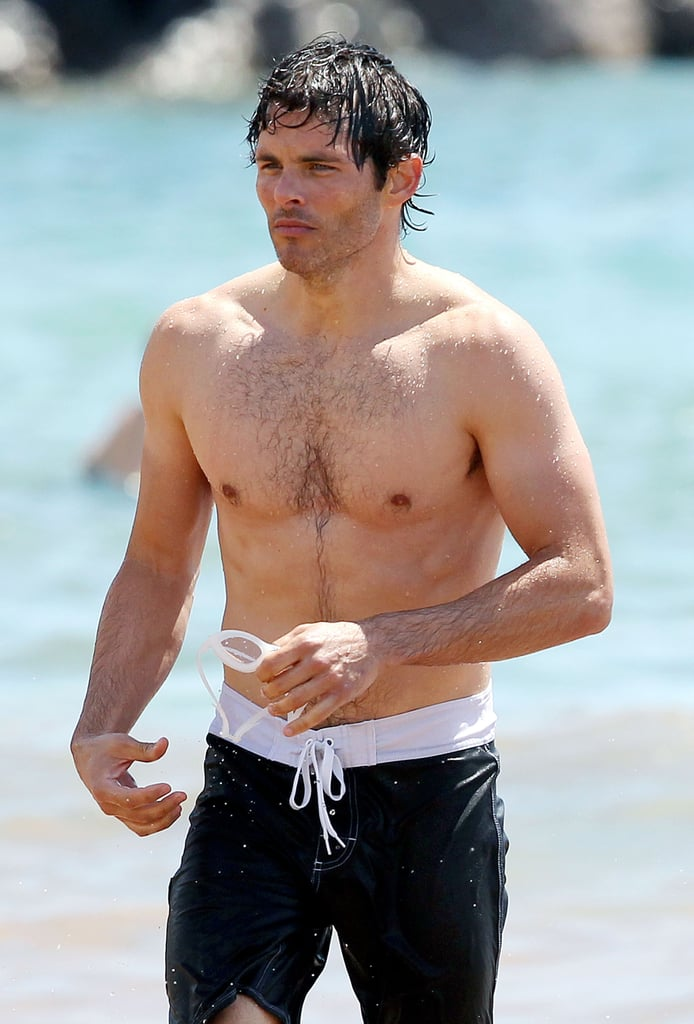 James Marsden showed off his abs and took a dip in the water on the beach in Hawaii.