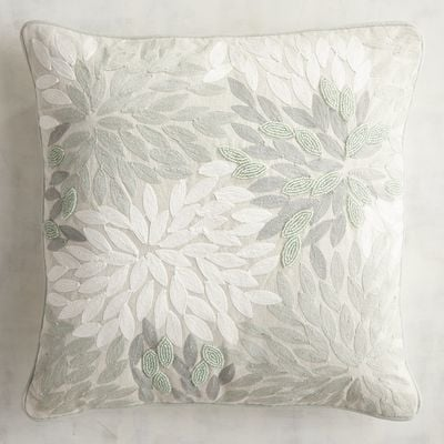 Embroidered & Beaded Sea Coral Pillow