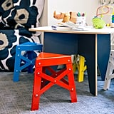 A set of RS Barcelona's Kid's Eiffel Stools ($165 each) gives the kids size-appropriate places to sit.