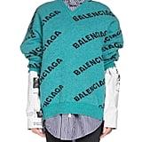 Balenciaga V-Neck Long-Sleeve Logo-Jacquard Wool Sweater