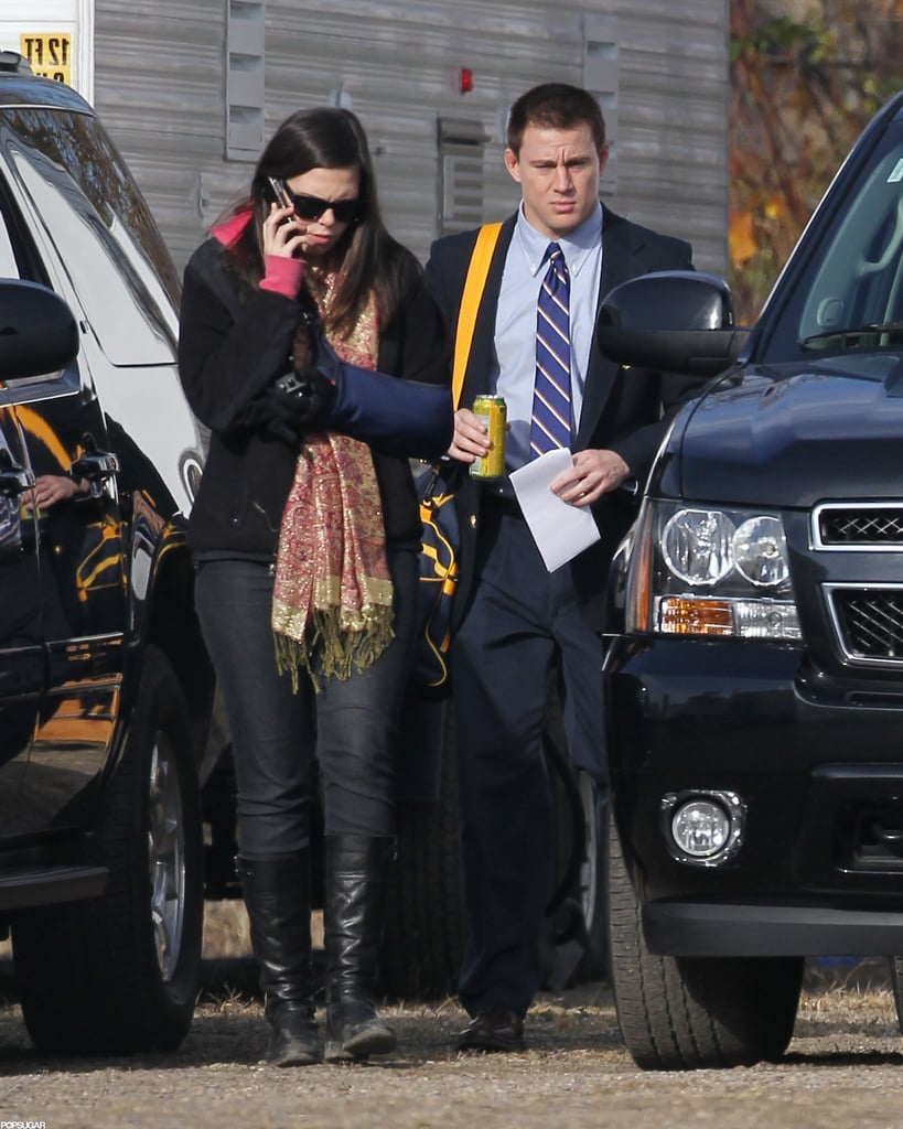 Channing Tatum wore a tie and jacket to begin filming in Pittsburgh.