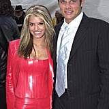 Jessica Simpson and Nick Lachey at the 2001 American Music Awards