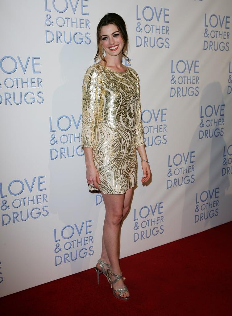 In sequined Oscar de la Renta at the Love & Other Drugs premiere in Sydney in 2010.