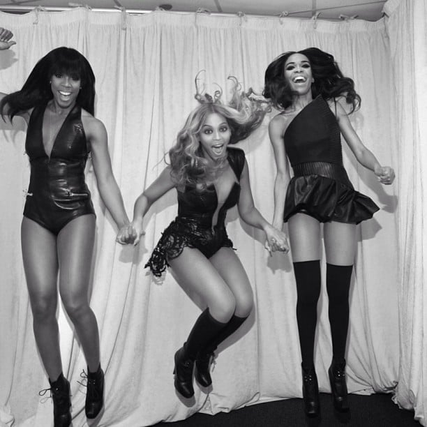 Beyoncé Knowles, Kelly Rowland, and Michelle Williams jumped around backstage at the Super Bowl. Source: Instagram user baddiebey