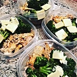 Shredded chicken, broccoli, and butter