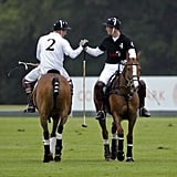 William and Harry shook hands after competing against each other in the Sentebale Polo Cup in June 2011.