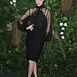 Coco Rocha went for glamour in sheer Zac Posen.